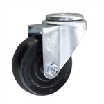 "3-1/2"" Stainless Steel Swivel Caster with bolt hole and hard rubber wheel"
