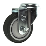 "3-1/2"" Stainless Steel Bolt Hole Caster with Black Polyurethane Tread"