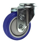 "3-1/2"" Stainless Steel Bolt Hole Caster with Blue Polyurethane Tread"