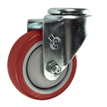 "3-1/2"" Stainless Steel Bolt Hole Caster with Red Polyurethane Tread"