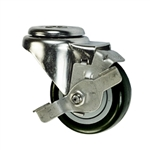 "3-1/2"" Stainless Steel Bolt Hole Caster with Black Polyurethane Tread and Brake"