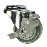 "3-1/2"" Stainless Steel Bolt Hole Caster with Gray Polyurethane Tread and Brake"
