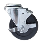 "4"" Stainless Steel Swivel Caster with bolt hole, hard rubber wheel and brake"