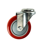 "4"" Stainless Steel Bolt Hole Caster with Red Polyurethane Tread"