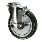 "4"" Stainless Steel Bolt Hole Caster with Black Polyurethane Tread and Brake"
