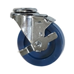 "4"" Stainless Steel Bolt Hole Swivel Caster with Solid Polyurethane and brake"