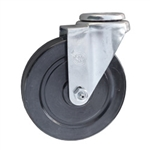 "5"" Stainless Steel Swivel Caster with bolt hole and hard rubber wheel"