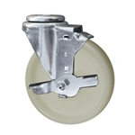 5 Inch Stainless Steel Bolt Hole Swivel Caster with White Nylon Wheel and Brake