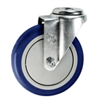 "5"" Stainless Steel Bolt Hole Caster with Blue Polyurethane Tread"