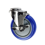 "5"" Stainless Steel Bolt Hole Caster with Blue Polyurethane Tread and Brake"