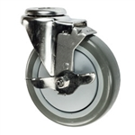 "5"" Stainless Steel Bolt Hole Caster with Gray Polyurethane Tread and Brake"