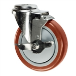 "5"" Stainless Steel Bolt Hole Caster with Maroon Polyurethane Tread and Brake"