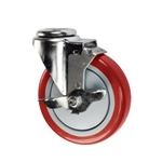 "5"" Stainless Steel Bolt Hole Caster with Red Polyurethane Tread and Brake"
