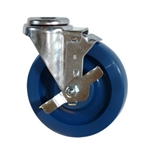 "5"" Stainless Steel Bolt Hole Swivel Caster with Solid Polyurethane and brake"