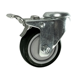 "3"" Stainless Steel Bolt Hole Caster with Black Polyurethane Tread and Total Lock"