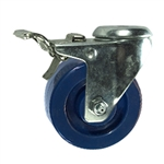 "3"" Stainless Steel Bolt Hole Caster with Solid Polyurethane Wheel and Total Lock Brake"