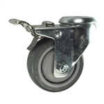 "3-1/2"" Stainless Steel Bolt Hole Caster with Gray Polyurethane Tread and Total Lock Brake"