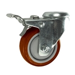 "3-1/2"" Stainless Steel Bolt Hole Caster with Maroon Polyurethane Tread and Total Lock Brake"