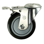 "4"" Stainless Steel Bolt Hole Caster with Black Polyurethane Tread and Total Lock"
