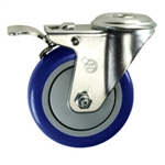"4"" Stainless Steel Bolt Hole Caster with Blue Polyurethane Tread and Total Lock"