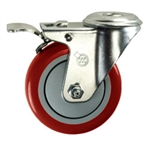 "4"" Stainless Steel Bolt Hole Caster with Red Polyurethane Tread and Total Lock"