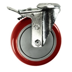 "5"" Stainless Steel Bolt Hole Caster with Red Polyurethane Tread and Total Lock Brake"