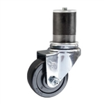 "3"" Stainless Steel Expanding Stem Swivel Caster with Hard Rubber Wheel"