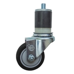 "3"" Expanding Stem Stainless Steel  Swivel Caster with Black Polyurethane Tread"