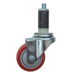 "3"" Expanding Stem Stainless Steel  Swivel Caster with Red Polyurethane Tread"