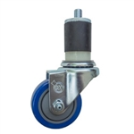 "3"" Expanding Stem Stainless Steel  Swivel Caster with Blue Polyurethane Tread"