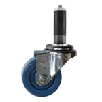 "3"" Expanding Stem Stainless Steel  Swivel Caster with Solid Polyurethane Tread"
