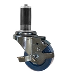 "3"" Expanding Stem Stainless Steel  Swivel Caster with Solid Polyurethane Tread and brake"