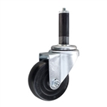 "3-1/2"" Stainless Steel  Expanding Stem Swivel Caster with Hard Rubber Wheel"