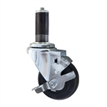 "3"" Stainless Steel  Expanding Stem Swivel Caster with Hard Rubber Wheel and Top Lock Brake"
