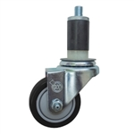 "3.5"" Expanding Stem Stainless Steel  Swivel Caster with Black Polyurethane Tread"