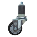 "3-1/2"" Expanding Stem Stainless Steel  Swivel Caster with Black Polyurethane Tread"