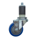 "3-1/2"" Expanding Stem Stainless Steel  Swivel Caster with Blue Polyurethane Tread"