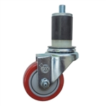 "3.5"" Expanding Stem Stainless Steel  Swivel Caster with Red Polyurethane Tread"