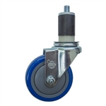 "4"" Expanding Stem Swivel Stainless Steel Caster with Blue Polyurethane Tread"