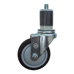 "4"" Expanding Stem Swivel Stainless Steel Caster with Black Polyurethane Tread"
