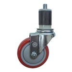 "4"" Expanding Stem Swivel Stainless Steel Caster with Red Polyurethane Tread"