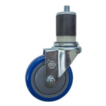 "4"" Expanding Stem Stainless Steel Swivel Caster with Blue Polyurethane Tread"