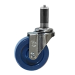 "4"" Expanding Stem Stainless Steel  Swivel Caster with Solid Polyurethane Tread"