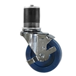 "4"" Expanding Stem Stainless Steel  Swivel Caster with Solid Polyurethane Wheel and brake"