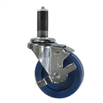 "4"" Expanding Stem Stainless Steel  Swivel Caster with Solid Polyurethane Tread and brake"