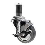 "4"" Stainless Steel  Expanding Stem Swivel Caster with Thermoplastic Rubber Wheel and Top Lock Brake"