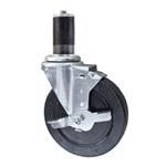 "5"" Stainless Steel Expanding Stem Swivel Caster with Hard Rubber Wheel and Brake"