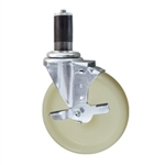 "5"" Expanding Stem Stainless Steel  Swivel Caster with Nylon Wheel"
