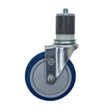 "5"" Expanding Stem Stainless Steel Swivel Caster with Blue Polyurethane Tread"