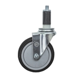 "5"" Expanding Stem Stainless Steel Swivel Caster with Black Polyurethane Tread"